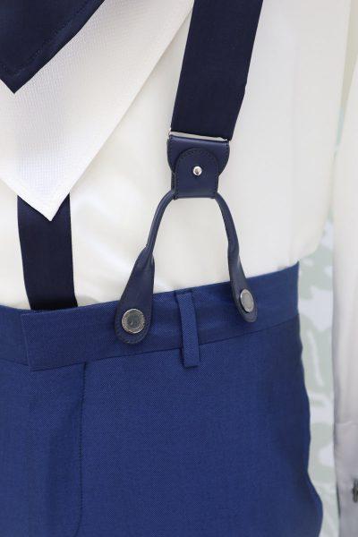 Bretelle blu notte abito da sposo classico blu intenso made in Italy 100% by Cleofe Finati