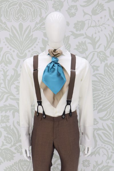 Sand blue suspenders fashion wedding suit havana 100% made in Italy by Cleofe Finati