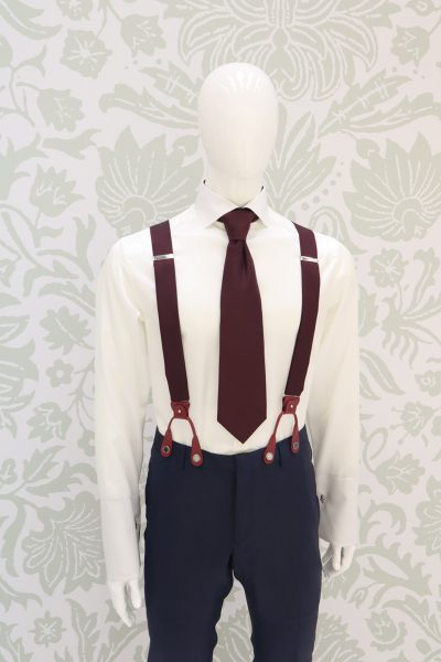 Dusty blue and white suspenders classic light blue wedding suit 100% made in Italy                                                                                      by Cleofe Finati