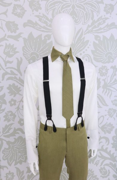 Black suspenders black fashion wedding suit black 100% made in Italy by Cleofe Finati
