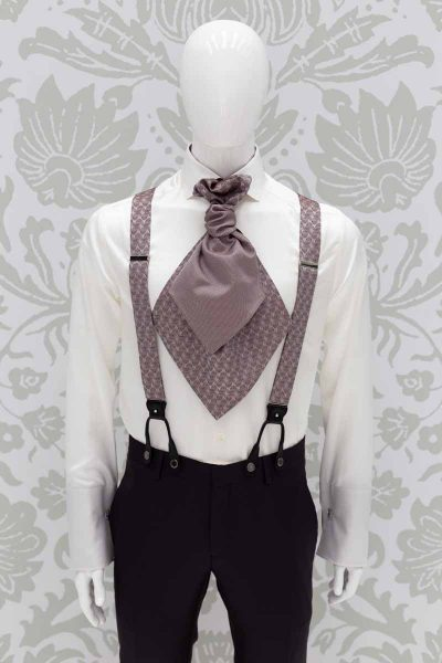 Dark rosé suspenders fashion brown wedding suit 100% made in Italy by Cleofe Finati