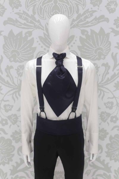 Black suspenders classic wedding suit tail coat line in black brocade 100% made in Italy by Cleofe Finati