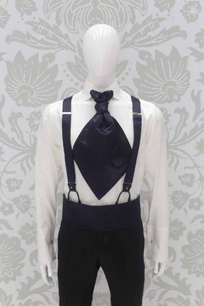 Bretelle nere abito da sposo classico linea marsina in broccato nero made in Italy 100% by Cleofe Finati
