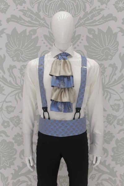 Light blue suspenders fashion black wedding suit 100% made in Italy by Cleofe Finati