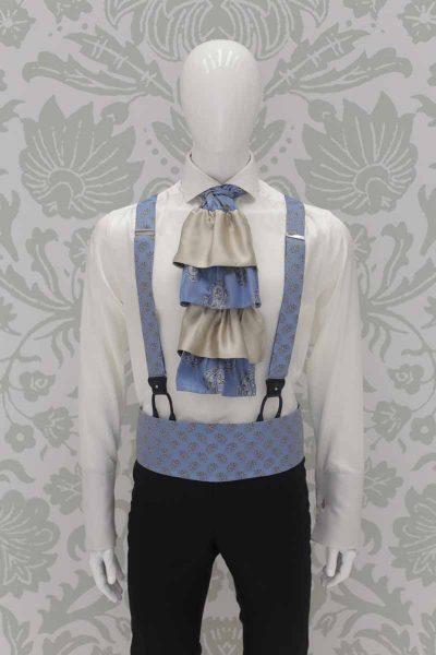 Bretelle celeste abito da sposo fashion nero made in Italy 100% by Cleofe Finati