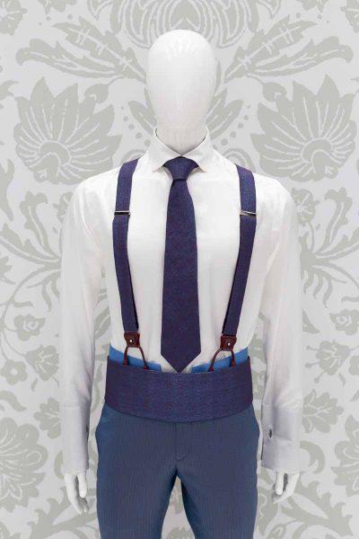 Bretelle turchese bordeaux abito da sposo classico azzurro cielo made in Italy 100% by Cleofe Finati