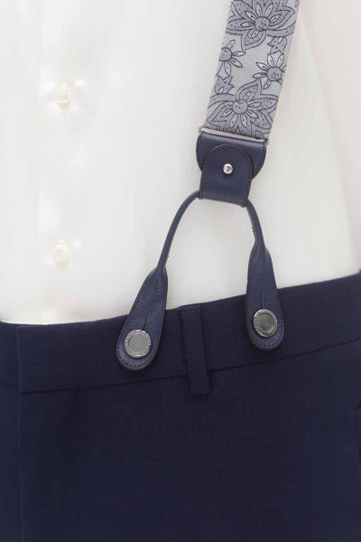 Suspenders blue white fashion wedding suit lightning blue 100% made in Italy                                                                                                   by Cleofe Finati