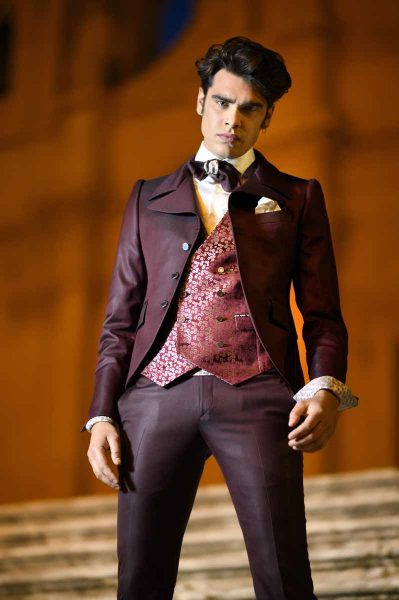 Suspenders silver fashion wedding suit burgundy 100% made in Italy                                                                                                   by Cleofe Finati