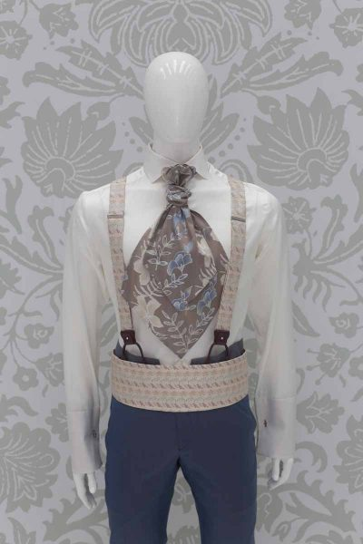 Sand rosé suspenders fashion wedding suit serenity blue 100% made in Italy by Cleofe Finati