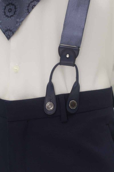 Metal blue suspenders classic midnight blue wedding suit 100% made in Italy by Cleofe Finati