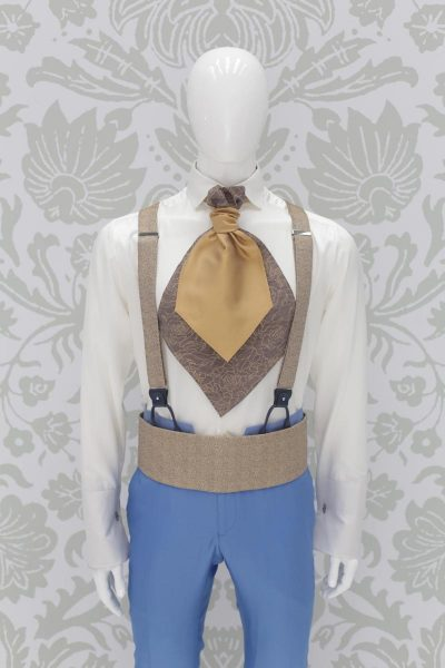 Suspenders gold fashion wedding suit sky blue 100% made in Italy by Cleofe Finati