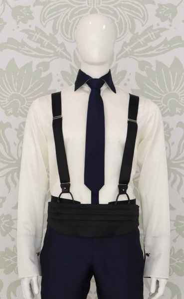 Burgundy suspenders glamour men's suit blue 100% made in Italy by Cleofe Finati