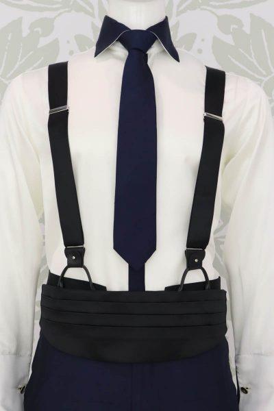 Bretelle nere abito da uomo glamour blu e nero made in Italy 100% by Cleofe Finati