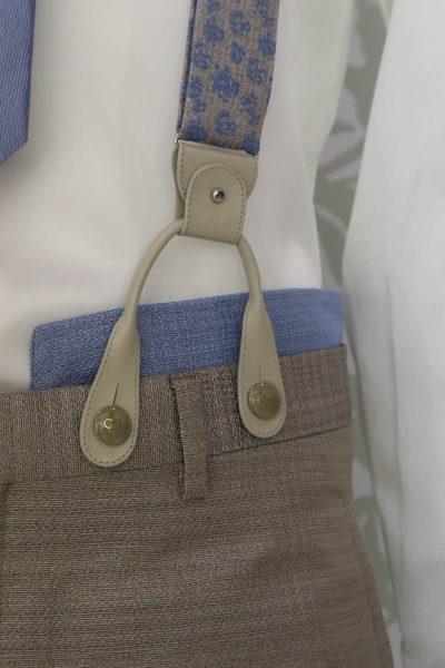 Bretelle tartan abito da uomo glamour azzurro e beige sabbia made in Italy 100% by Cleofe Finati