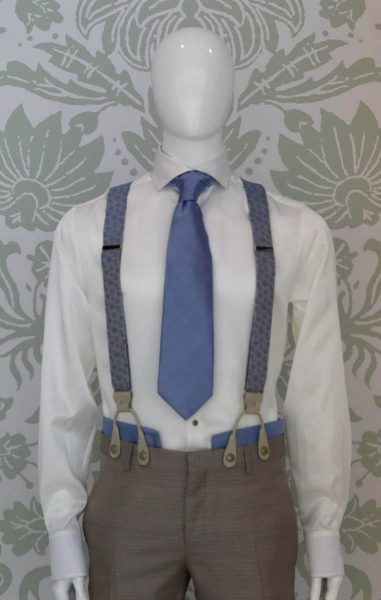 Beige light blue suspenders glamour men's suit white light blue 100% made in Italy by Cleofe Finati