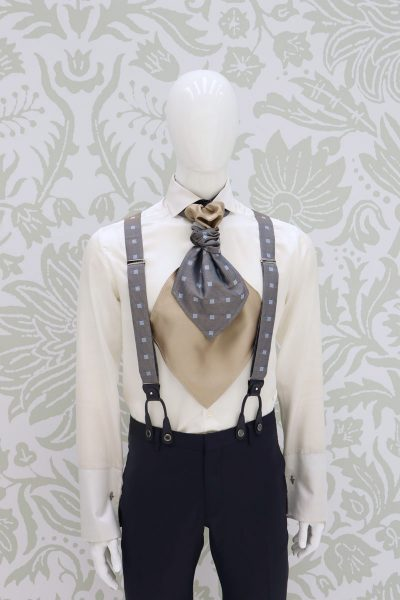 Midnight blue suspenders fashion wedding suit navy blue 100% made in Italy by Cleofe Finati
