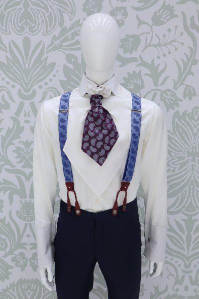Bretelle blu abito da sposo fashion blu navy made in Italy 100% by Cleofe Finati