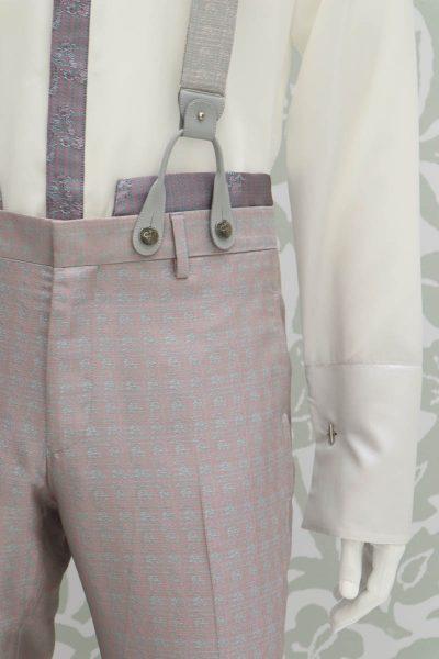 Bretelle avorio e salvia abito da uomo glamour rosa e salvia made in Italy 100% by Cleofe Finati