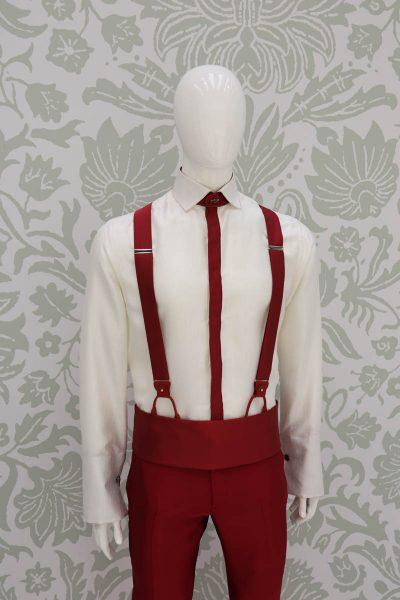 Bretelle rosso abito da uomo glamour rosso made in Italy 100% by Cleofe Finati