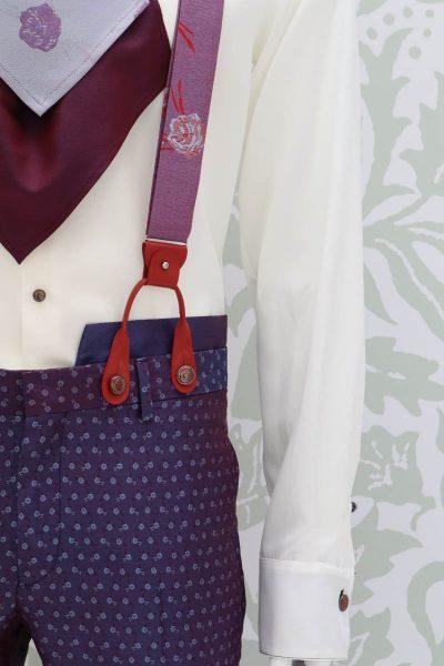 Bretelle rosso blu abito da uomo glamour blu bordeaux made in Italy 100% by Cleofe Finati