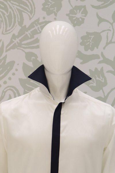 Camicia panna abito da sposo classico blu intenso made in Italy 100% by Cleofe Finati