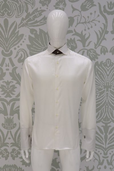 Cream shirt fashion wedding suit havana 100% made in Italy by Cleofe Finati
