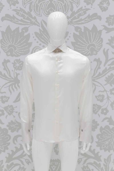 Cream shirt black wedding suit tail coat 100% made in Italy by Cleofe Finati