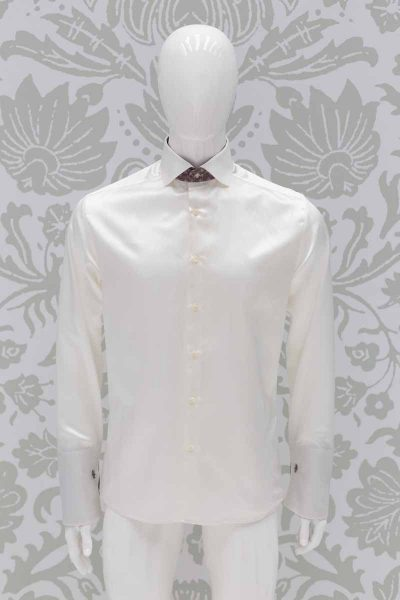 Camicia panna abito da sposo fashion marrone made in Italy 100% by Cleofe Finati