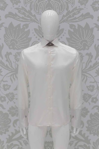 Cream shirt fashion cloud grey wedding suit 100% made in Italy by Cleofe Finati