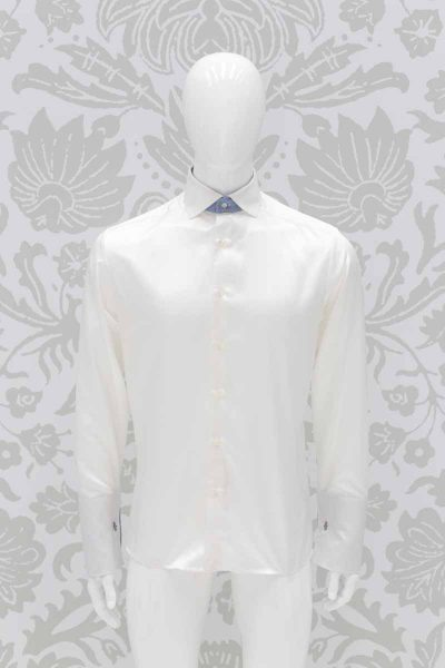 Cream shirt fashion black wedding suit 100% made in Italy by Cleofe Finati