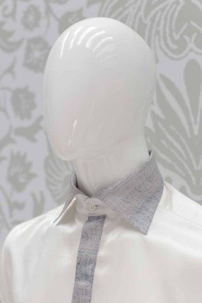 Cream shirt lightning blue classic wedding suit 100% made in Italy           by Cleofe Finati