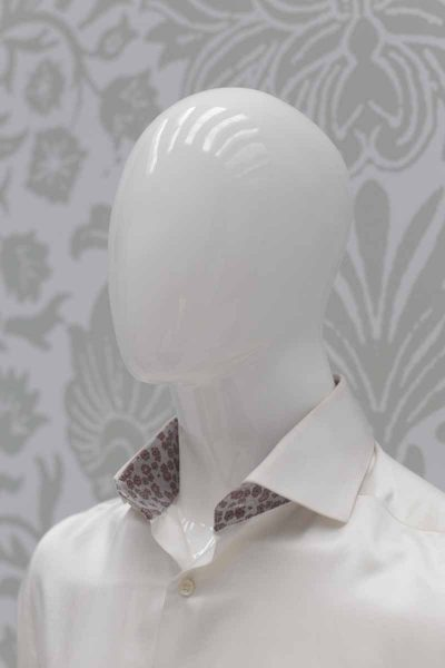 Cream shirt fashion burgundy wedding suit 100% made in Italy        by Cleofe Finati