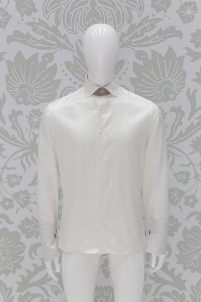 Cream shirt fashion wedding suit sky blue 100% made in Italy by Cleofe Finati