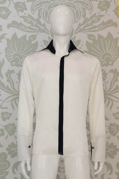 Cream shirt glamour men's suit blue 100% made in Italy by Cleofe Finati