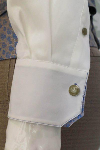 Camicia panna abito da uomo glamour azzurro beige sabbia made in Italy 100% by Cleofe Finati