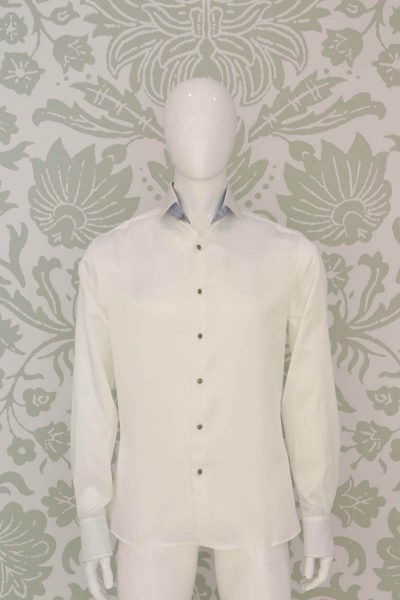 Cream shirt glamour men's suit white light blue 100% made in Italy by Cleofe Finati