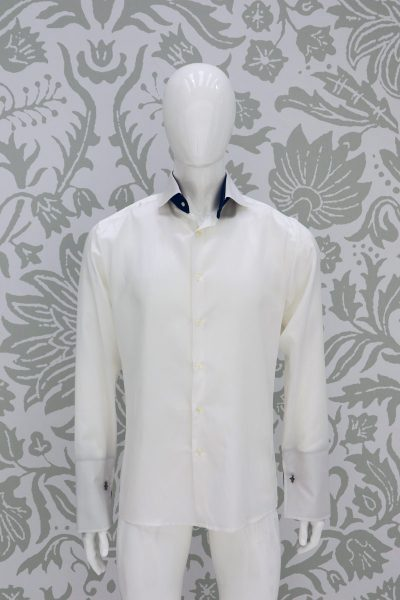 Cream shirt wedding suit fashion serenity blue 100% made in Italy by Cleofe Finati