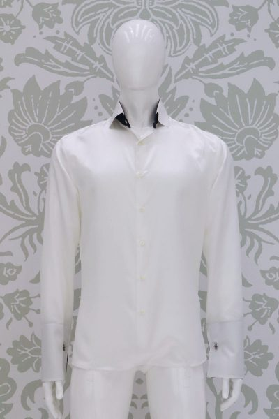Cream shirt fashion wedding suit navy blue 100% made in Italy by Cleofe Finati