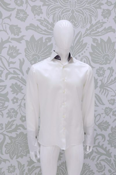 Cream shirt fashion wedding suit lightning blue 100% made in Italy         by Cleofe Finati