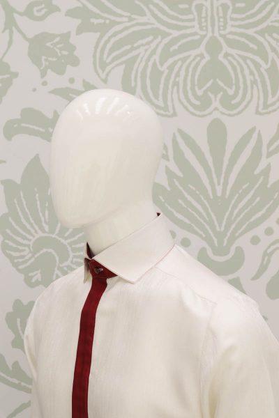 Camicia panna abito da uomo glamour rosso made in Italy 100% by Cleofe Finati