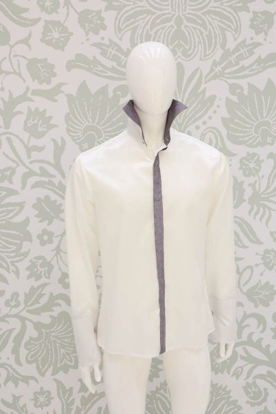 Cream shirt glamour men's suit ice grey 100% made in Italy by Cleofe Finati