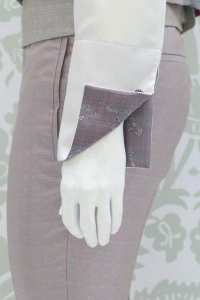 Camicia panna abito da uomo glamour rosa e salvia made in Italy 100% by Cleofe Finati
