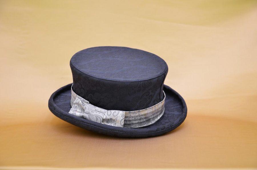 Cappello cilindro demi abito da uomo glamour blu notte ecru made in Italy 100% by Cleofe Finati
