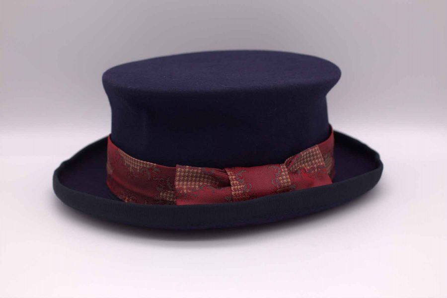 Demi top hat glamour men's suit blue red 100% made in Italy by Cleofe Finati