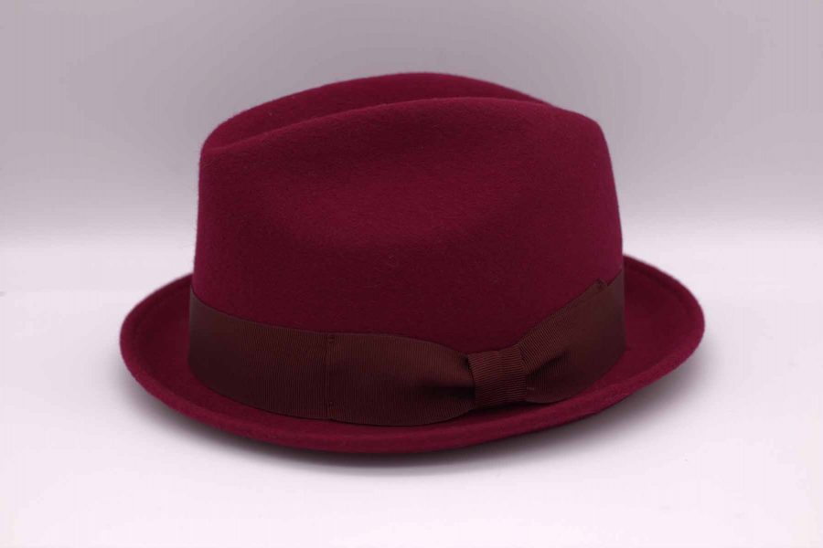 Blues hat glamour burgundy red maroon men's suit 100% made in Italy by Cleofe Finati