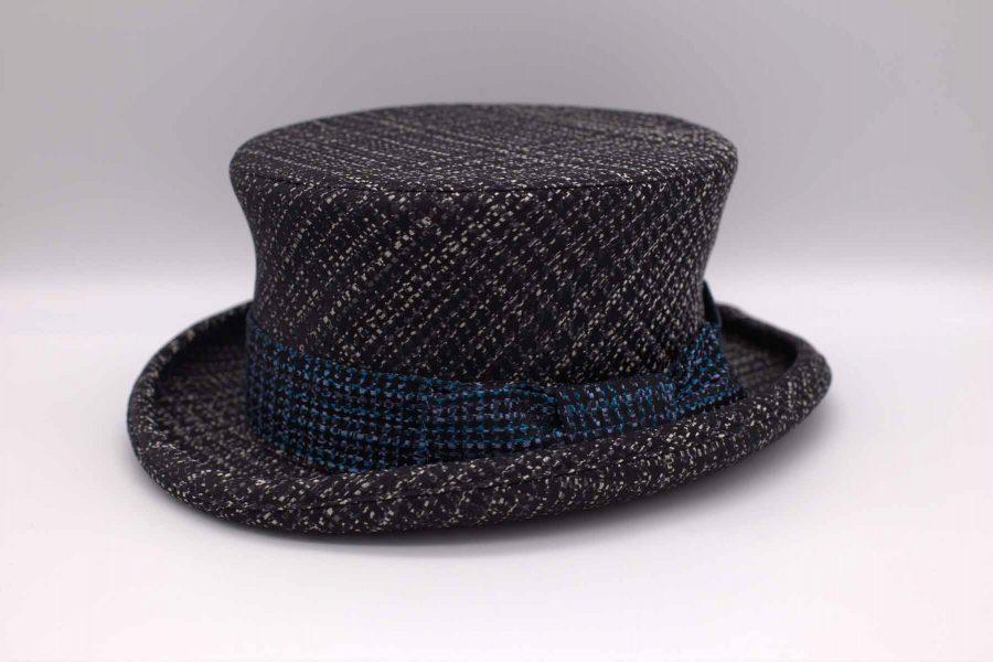 Cappello cilindro demi abito da uomo glamour blu nero made in Italy 100% by Cleofe Finati