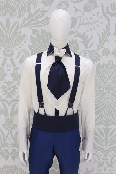 Cintura fascia in tessuto blu notte abito da sposo classico blu intenso made in Italy 100% by Cleofe Finati