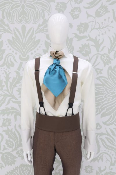 Belt band blue sand fabric fashion wedding suit havana made in Italy 100% by Cleofe Finati