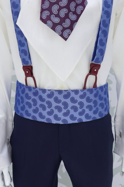 Midnight blue fabric belt for fashion wedding suit lightning blue 100% made in Italy    by Cleofe Finati