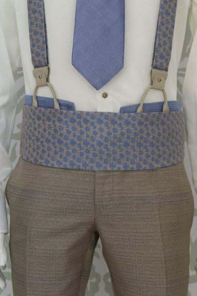 Cintura fascia in tessuto azzurro e sabbia abito da uomo glamour azzurro beige sabbia made in Italy 100% by Cleofe Finati